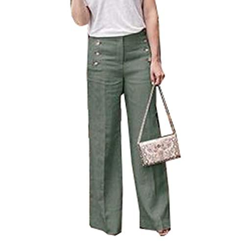 Pantalones De Color SóLido De AlgodóN Y Lino para Mujer De Moda Pantalones Acampanados De Pierna Ancha con Botones Casuales De Cintura Alta