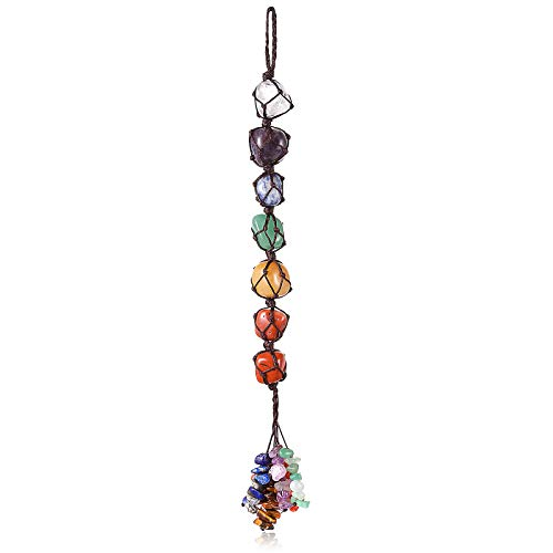7 Chakra Gemstones Crystal Healing Hanging Ornament, Good Luck Indoor Home Wall Decoration, Feng Shui Ornament, Car Window Decoration, Christmas Trees Ornament (1)