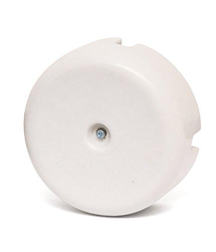 Porzellan Verteilerdose Retro Aufputz elektrische Abzweigdose weiß nostalgische Wanddose | Abmessungen: Ø100 mm - h45 mm mit 3 Ausgängen