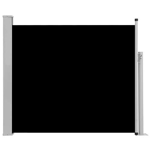 Festnight Ausziehbare Seitenmarkise Sichtschutz Sonnenschut Windschutz Seitenrollo Markise für Balkon & Terrasse 100x300 cm Schwarz