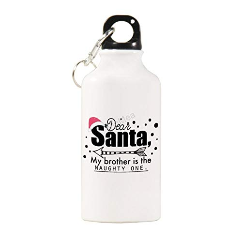VinMea Sports Water Bottle Dear Santa, My Brother is The Naughty One. Stainless Steel Kettle Sports Bottles for Outdoor Training, Cycling, Camping, 20 oz/600ml