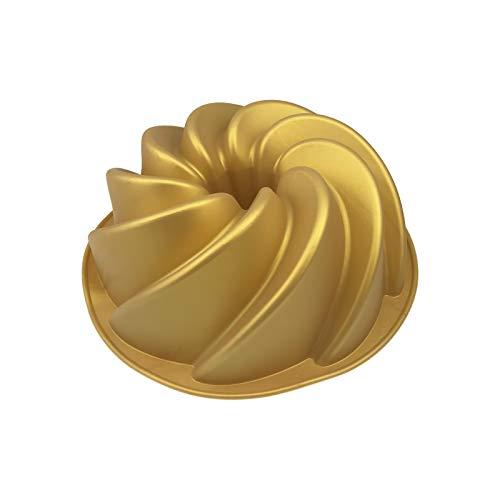 Gugelhupf Backform - Silikon, 21 x 7,5 cm (ØxH), Gold farben, Mikrowellen- / Backofen geeignet, -40°C bis +230°C, Spülmaschinenfest, Stückzahl:1 Stück