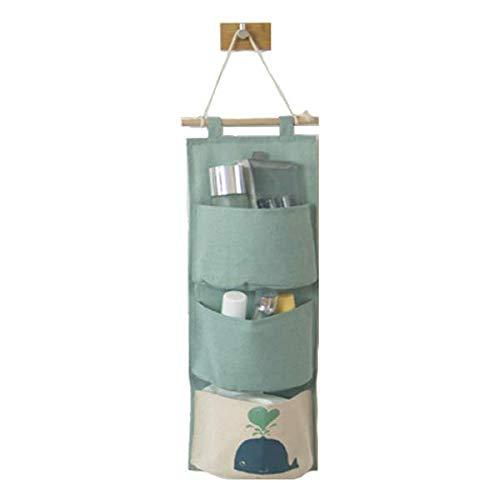 DecentGadget Multiple Pocket Hanging Storage Bag//Portaoggetti Appeso a Muro Porta Appeso Porta Organizer in Cotone per Camera Cucina Bagno (3 Tasche, Verde)