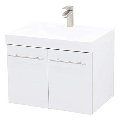 """WindBay Wall Mount Floating Bathroom Vanity Sink Set, White Embossed Texture Vanity, White Integrated Sink Countertop - 29.25"""""""