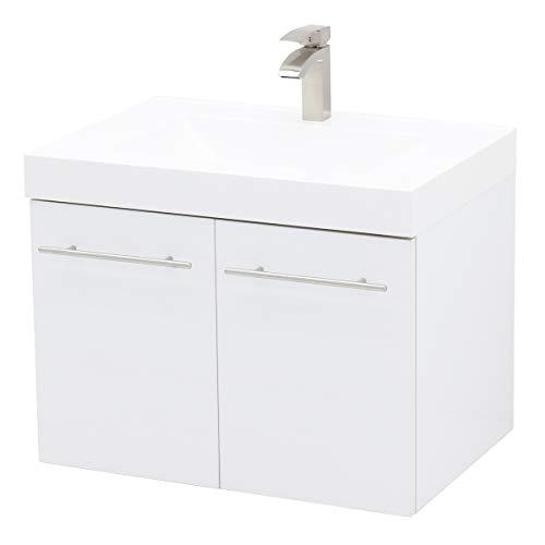 WindBay Wall Mount Floating Bathroom Vanity Sink Set, White Embossed Texture Vanity, White Integrated Sink Countertop - 23.25'