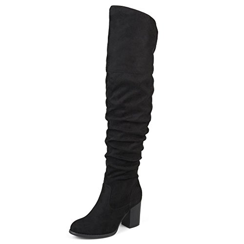 Brinley Co. Womens Regular Wide Calf and Extra Wide Calf Ruched Stacked Heel Faux Suede Over-The-Knee Boots Black, 10.5 Extra Wide Calf US