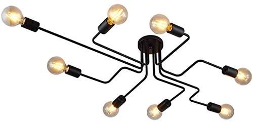 Lingkai Lampada da Soffitto Metallo Luce Pendente Lampadari Moderni E26/E27 per Sala da Pranzo, Isola Cucina, Camera da Letto, Soggiorno Nero 8 Basi di Lampadina(nessuna lampadina)