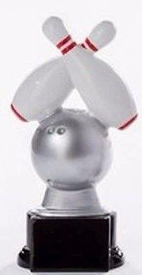 Bowling-Pokal mit Wunschgravur und 3 Bowling-Anstecknadeln (Sticker)