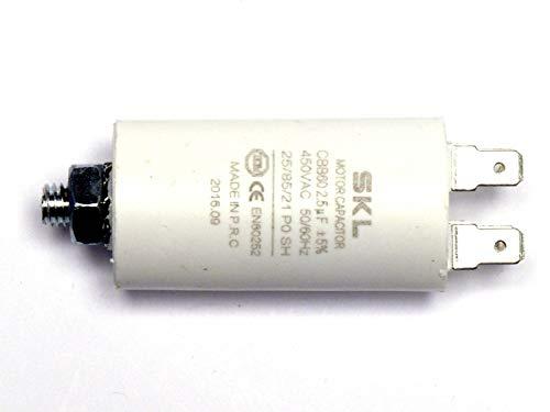 MKP - Kondensator 2,5uF, Motorkondensator 2,5µF 450VAC (CBB60), verwendbar als Betriebskondensator oder Anlaufkondensator (Anlasskondensator) aus selbstheilender metallisierter Polypropylenfolie im Kunststoffbecher, Anschluß über Flachsteckanschluß (Doppelanschluß FastOn250)