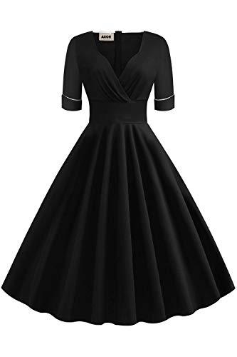 AXOE Damen Elegant Rockabilly Kleid 60er Jahre Vintage Baumwolle Einfarbig Schwarz Gr.40, L