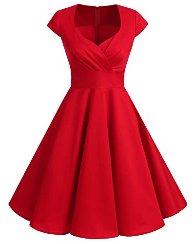 bbonlinedress 1950er Vintage Retro Cocktailkleid Rockabilly V-Ausschnitt Faltenrock Red XL