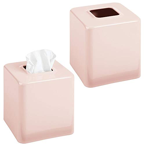 mDesign Modern Square Metal Paper Facial Tissue Box Cover Holder for Bathroom Vanity Countertops, Bedroom Dressers, Night Stands, Desks and Tables - 2 Pack - Light Pink/Blush