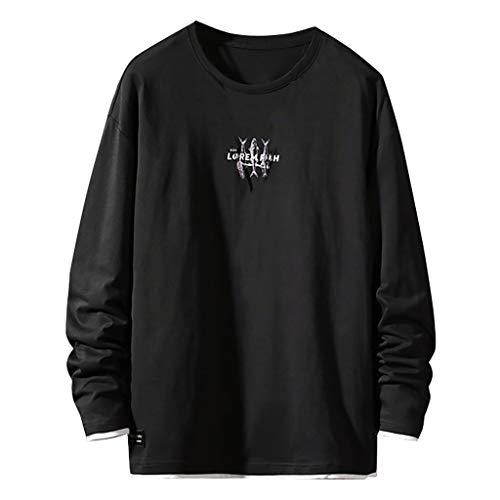 Xmiral Sweatshirt Pullover Herren Einfarbig Buchstabe Drucken Herbst Outwear Lange Ärmel Rundhals Tops Sportbekleidung(e Schwarz,4XL)