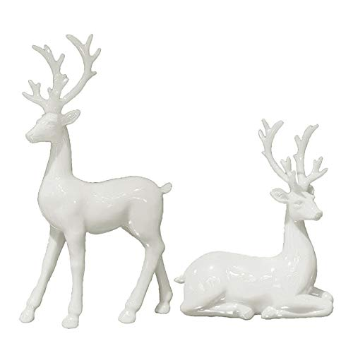 1Pair Couple Deer Figurine, Resin Reindeer Sitting Standing Sculpture Animal Statue Home Living Room Office Table Decoration Ornaments Collectible - White