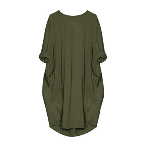 VEMOW Damenmode Tasche lose Kleid Damen Rundhalsausschnitt beiläufige tägliche Lange Tops Kleid Plus Größe (48 DE/XL CN, Armeegrün)