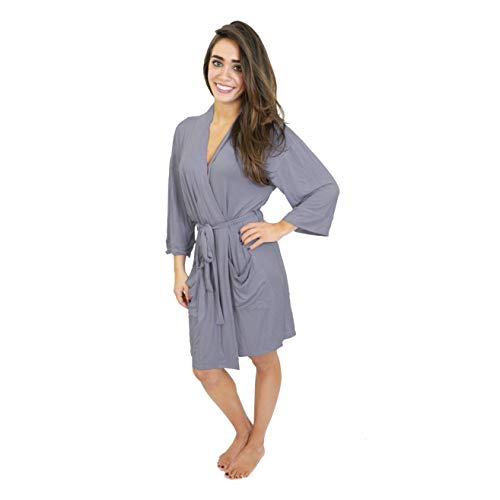 Cherokee Women's Stylish Modal Robe, Gray Ridge M