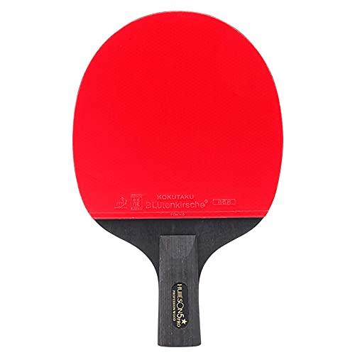 HXFENA Bate de Tenis de Mesa,Palas de Ping Pong de Entrenamiento Profesional de 5 Estrellas con Bolsa de Almacenamiento,Buena SensacióN de Mano Y Estabilidad Fuerte/A/Mango cor