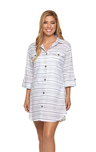 Dotti Baja Stripe Shirtdress Cover-Up Grey SM