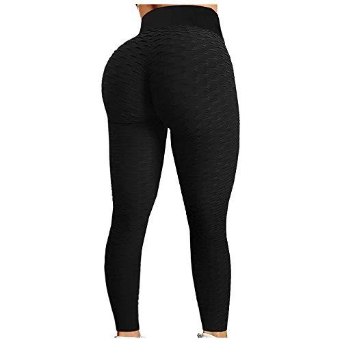 Mallas Casual de Yoga Pantalones Deportivos con Textura de Panal Leggings de Cintura Alta Leggins Push Up Pantalón de Deporte Transpirables Elásticos Ideal para Fitness Running Gym