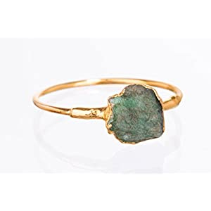 Dainty Stackable Raw Emerald Ring, Yellow Gold, May Birthstone Jewelry