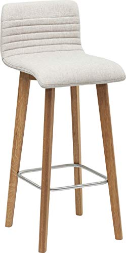 Kare Design Barhocker Lara, Barstuhl in modernem Design, gepolsterter Massivholzstuhl, Weiß-Meliert (H/B/T) 98x42,5x46cm