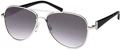 styleBREAKER Damen Pilotenbrille mit getönten Gläsern, Sonnenbrille mit lackierten Bügeln und Strassstein 09020053, Farbe:Gestell Silber-Schwarz/Glas Grau verlaufend