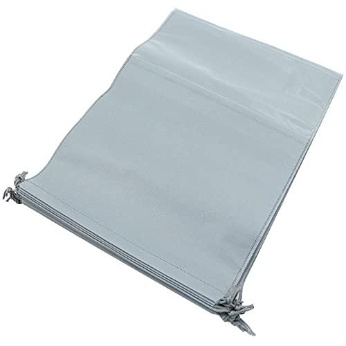 Bolsa para zapatos, bolsa de viaje, bolsa para zapatos, 10 unidades, resistente al polvo, impermeable, bolsa de tela con cordón, organizador de viaje para viajes en casa, 32 x 44 cm, color gris