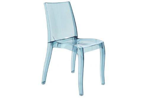 Grandsoleil upon cristallo trasparente sedia impilabile, in policarbonato, fumé grigio chiaro, 54x 50x 84cm