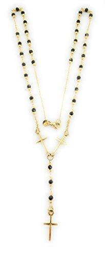 Gioie Preziose - Collar Rosario de oro amarillo 18 quilates con tres cruces con onici naturales – Longitud 45 cm – Hecha a mano en Vicenza
