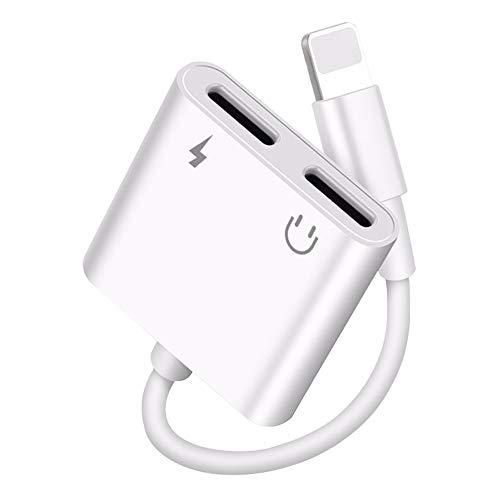 [2 en 1]Adaptador de auriculares para iPhone Aux Audio Dongle Cable Converter Compatible con iPhone 12/12 Pro/12 Mini/11/11 Pro/XS/X/XS/XR/7/7 Plus/8/8 Plus Soporte para todos los sistemas iOS-Blanco