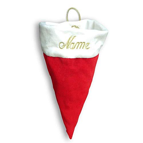 Weihnachts Geschenkmütze mit Hänkel edel personalisiert mit Bestickung Name, individuelle Geschenkverpackung, hochwertige kleine rote samtige Tasche mit weißem Samtbesatz, individuell mit Text