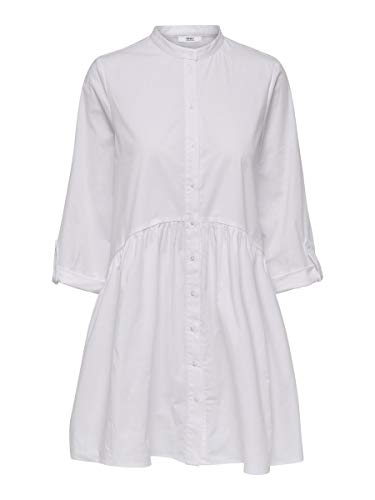 Only ONLDITTE Life 3/4 Shirt Dress Noos Wvn Vestito Casual, White, 40 Donna