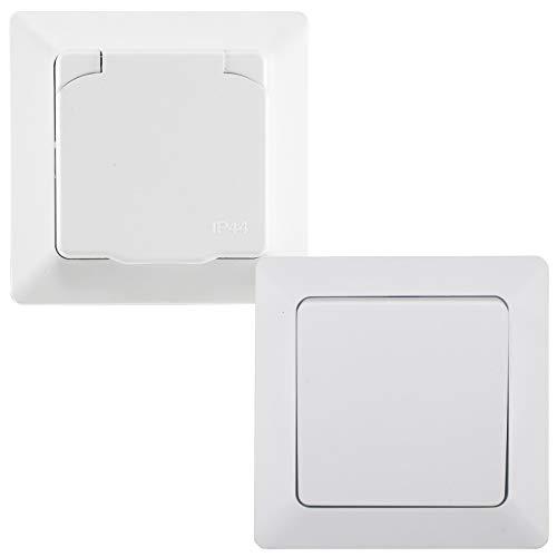 MILOS - Enchufe con interruptor para exterior IP44, incluye marco, 230 V, interruptor de cambio empotrado, enchufe con tapa abatible para ambientes húmedos, exterior mate, color blanco