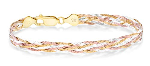 """Miabella Tri-Color 18K Gold Over 925 Sterling Silver Italian 6-Strand 7mm Braided Herringbone Chain Bracelet for Women Teen Girls 6.5, 7.25, 8 Inch Italy (7.25 Inches (6.25""""-6.75"""" Wrist Size))"""