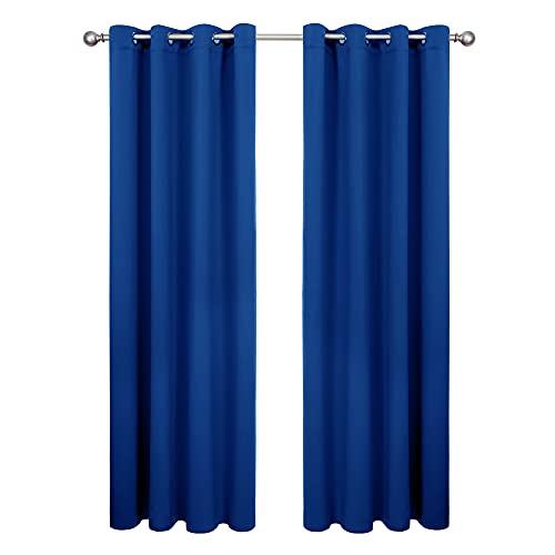 Amazon Brand - Umi Cortinas Opacas de Salón Decoración para Habitación Dormitorio Moderno Suaves 2 Piezas con Ojales 140 x 240 cm Azul Oscuro