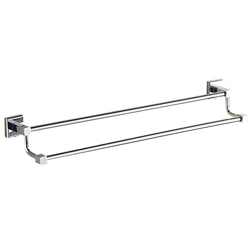 Leyden Contemporary Bathroom Accessories Solid Brass Double Towel Bar Chrome Finish Lavatory Home Decor Bath Shower Improvement Towel Racks and Holders Free Standing Space Saver Towel Bars