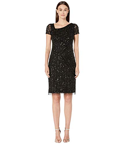 Adrianna Papell Women's Beaded Short Dress, Black, 8