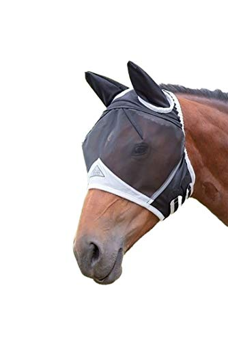 Shires New Fine Mesh With Ears Fly Mask Pony Black Orange