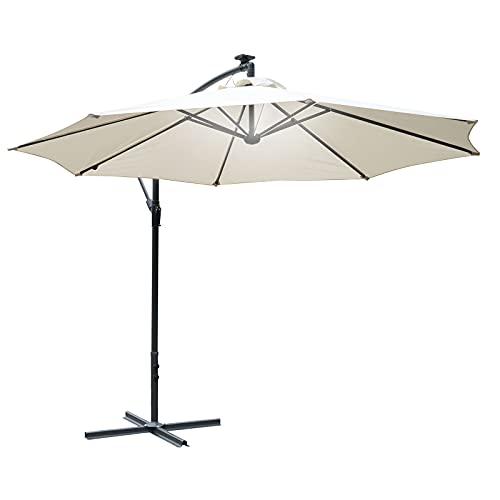 Outsunny 3m LED Patio Banana Umbrella Cantilever Parasol w/Crank Cross Base Hanging Offset Umbrella Frame Steel Aluminium Garden Table Outdoor Off-White