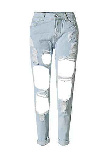 HX fashion Damen Jeanshose Straight Leg Fit Mit Löcher Classic Chern Relaxed Jeans Boyfrie
