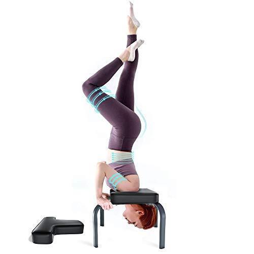 YOLEO Banco Yoga, Silla de Inversión de Yoga, Banco Soporte para la Cabeza, Taburete de Yoga para la Familia, Carga Máxima 150 kg, 49.9 * 36.7 * 43.4 cm, Negro