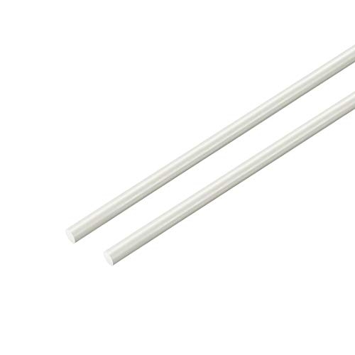 sourcing map Varilla redonda de fibra de vidrio FRP, 2mm de diám. 50cm Longitud barras redondas blanca 2uds