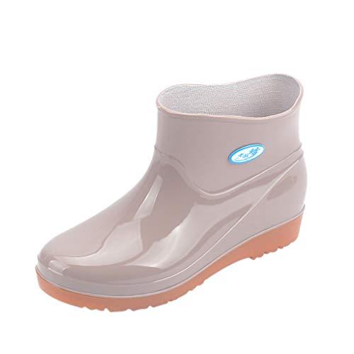 LoveLeiter Damen Gummistiefel Halbschaft Regenstiefel Regenschutz Outdoor Stiefeletten Flach rutschfest Gummi-Sohle Stretcheinsatz Atmungsaktiv Modisch für Frauen