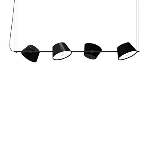 Lámpara Colgante con 4 Pantallas de Aluminio orientables 4X E14 LED 5W, Modelo Tam Tam 4, Color Negro, 30 x 145 x 46 centímetros (Referencia: A633-017)