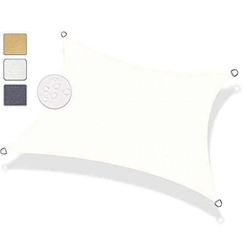 MODKOY Sonnensegel Quadrat 2.5x3.5m, Sonnenschutz Wasserfest 90% UV Schutz Windschutz Sichtschutz 100% PES, Beschattungsnetz Atmungsaktiv, Für Garten Terrasse Balkon überdachung - 160GSM weiß