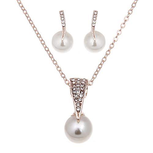 Hunpta - Juego de collar y pendientes de perlas brillantes con circonita cúbica para mujeres y niñas, regalo de cumpleaños y boda