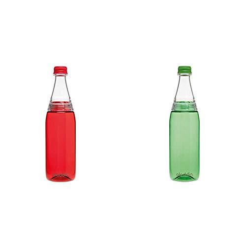 Aladdin Fresco Twist & Go Tritan-Trinkflasche, 0.7 Liter, Rot, Geeignet für Kohlensäure, Spülmaschinengeeignet & Trinkflasche, 0.7 Liter, Grün, Geeignet für Kohlensäure, Spülmaschinengeeignet