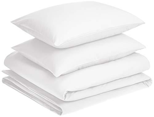 AmazonBasics - Juego de fundas de edredón y almohada de microfibra premium (230 x 220 cm / 50 x 80 cm), blanco brillante