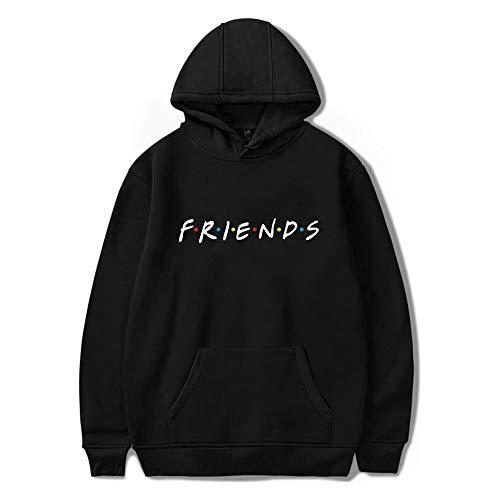 Unisex Friends Print Hoodies Casual Friends Hooded Sweater Long Sleeve Pullover Sweatshirt Black