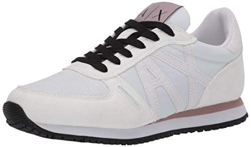 ARMANI EXCHANGE Retro Running Sneakers, Scarpe da Ginnastica Basse Donna, Bianco (OPT White A222), 37 EU